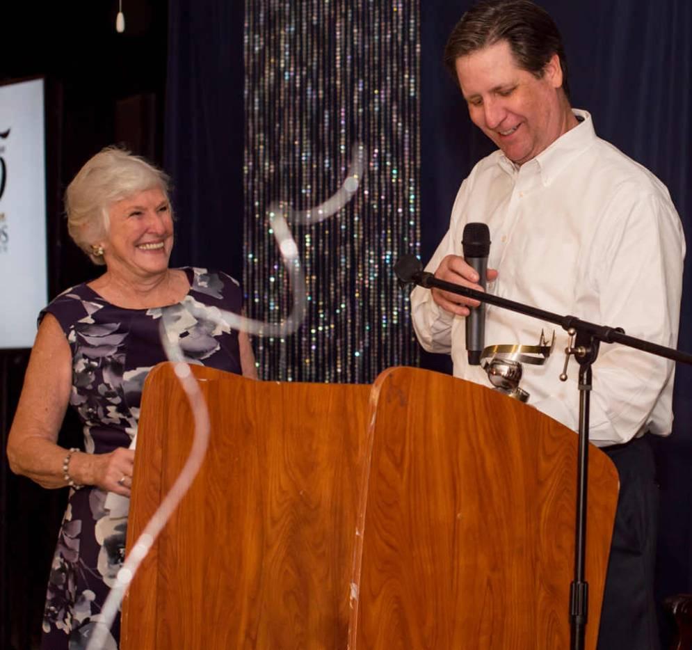 Marilyn Stout presents Gray Davis the Lifetime Achievement Award