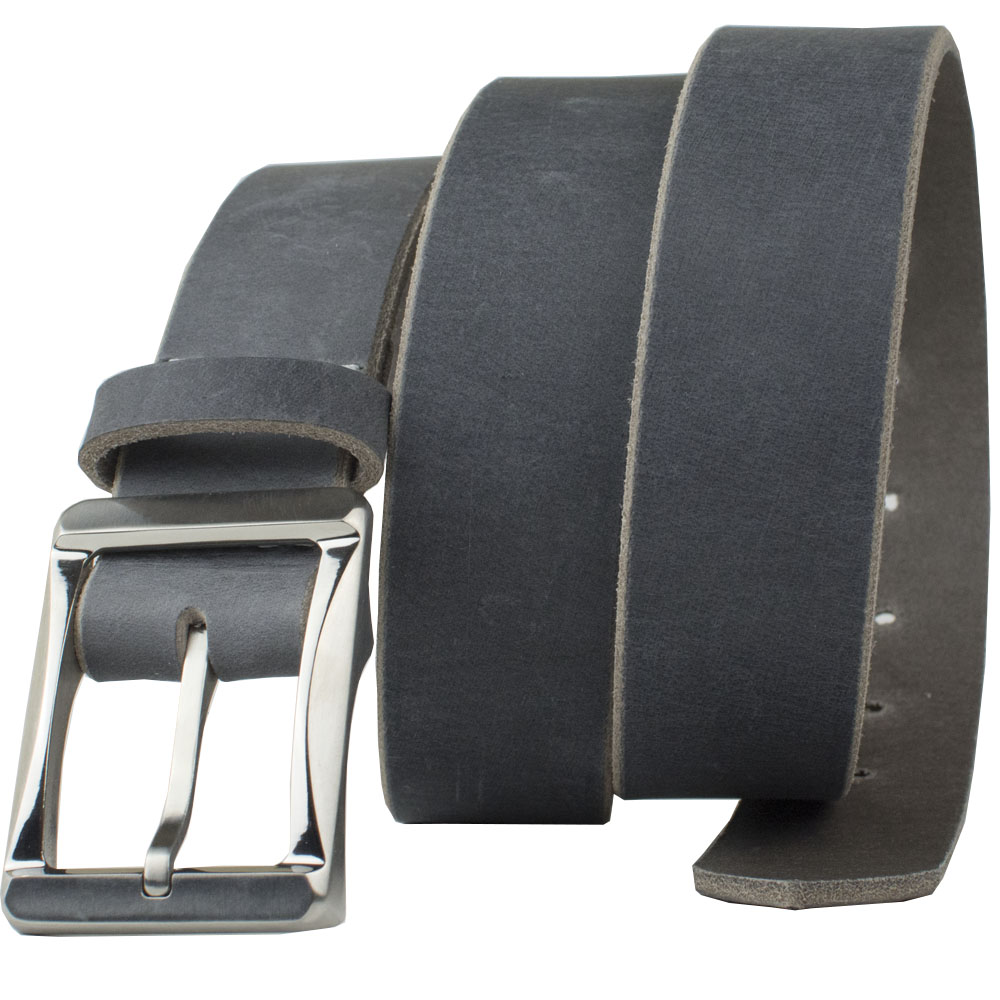 Titanium Work Belt with Distressed Gray Leather