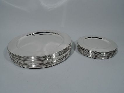 set of sterling silver antique dinner plates all s
