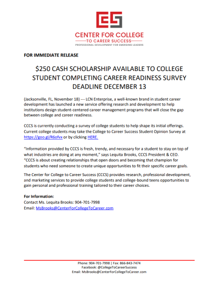 $250 College Scholarship: Center for College to Career Success Deadline 12.13.18