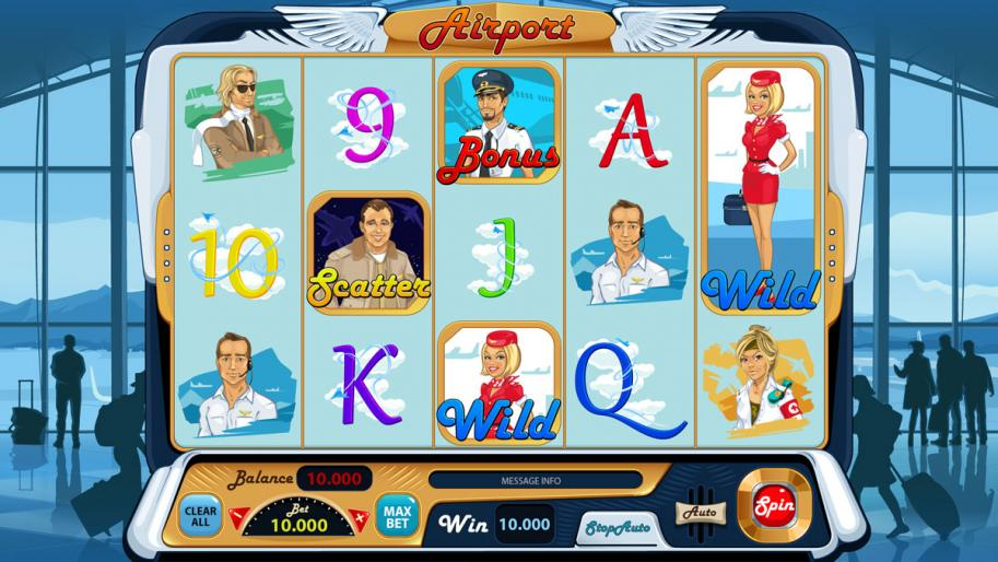 "Game design for the online slot game ""Airport"""