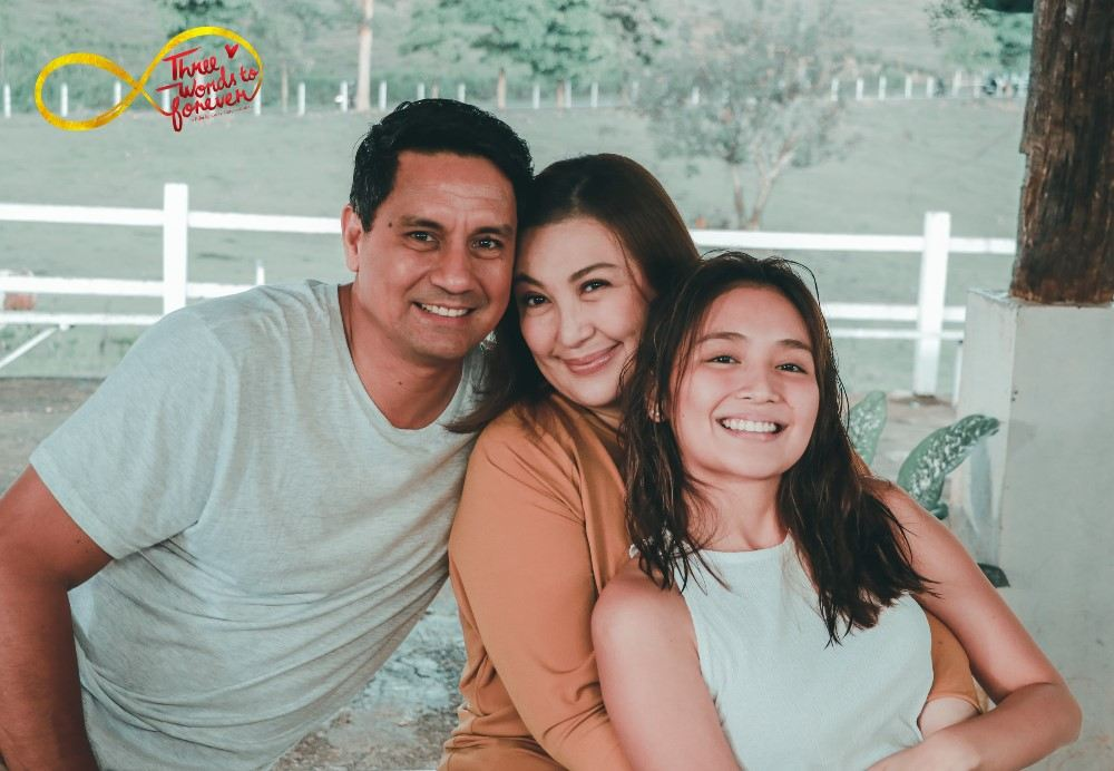 "Richard Gomez, Sharon Cuneta and Kathryn Bernardo in ""Three Words to Forever"""