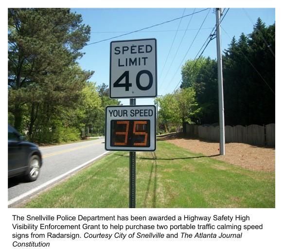 Snellville PD was awarded a grant to purchase 2 radar speed signs from Radarsign