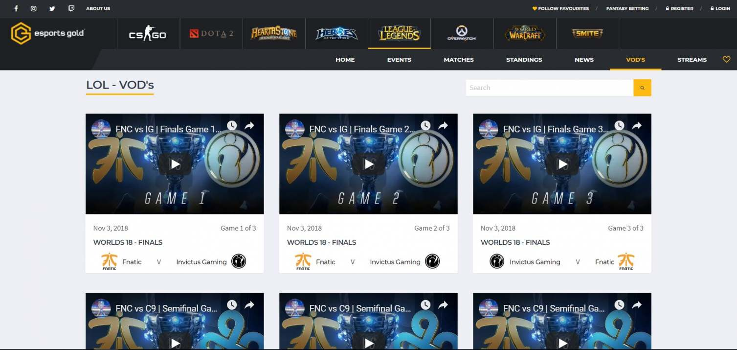 Esports Gold Website Preview