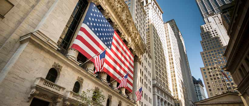 American flag at NY Stock Exchange