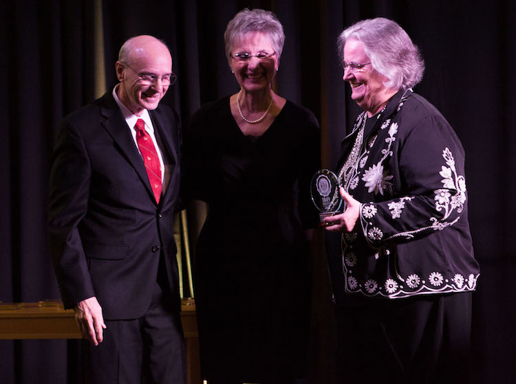 Byron Steiger, Dianne Steiger, Pacific University President Lesley Hallick