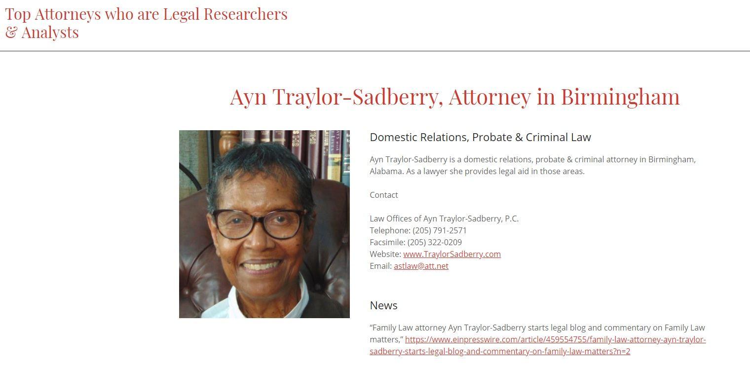 Ayn Traylor Sadberry, Profile at SolomonLawGuild