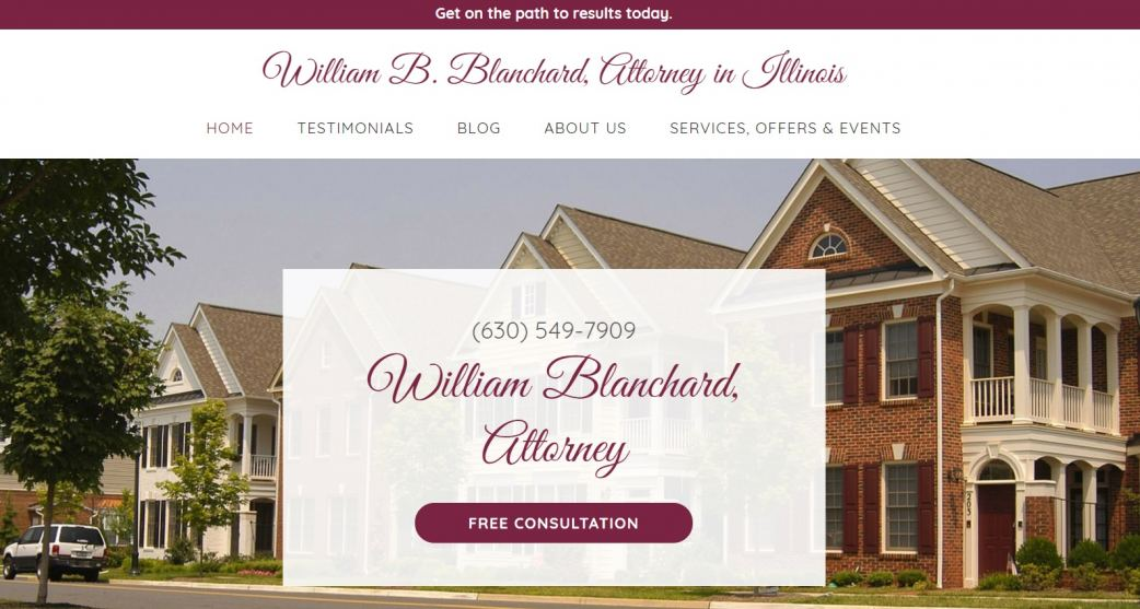 Website of William Blanchard Law in Illinois