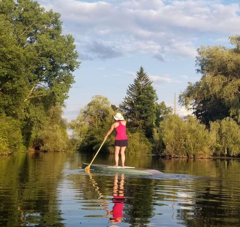 Paddler on Huron River Water Trail