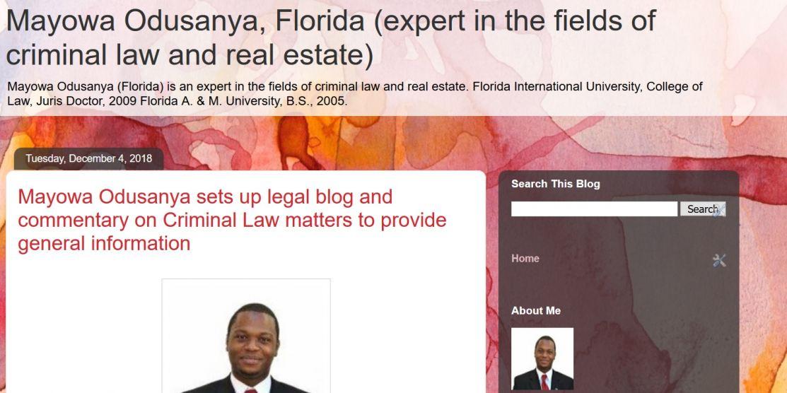 Blog of Mayowa F. Odusanya Florida
