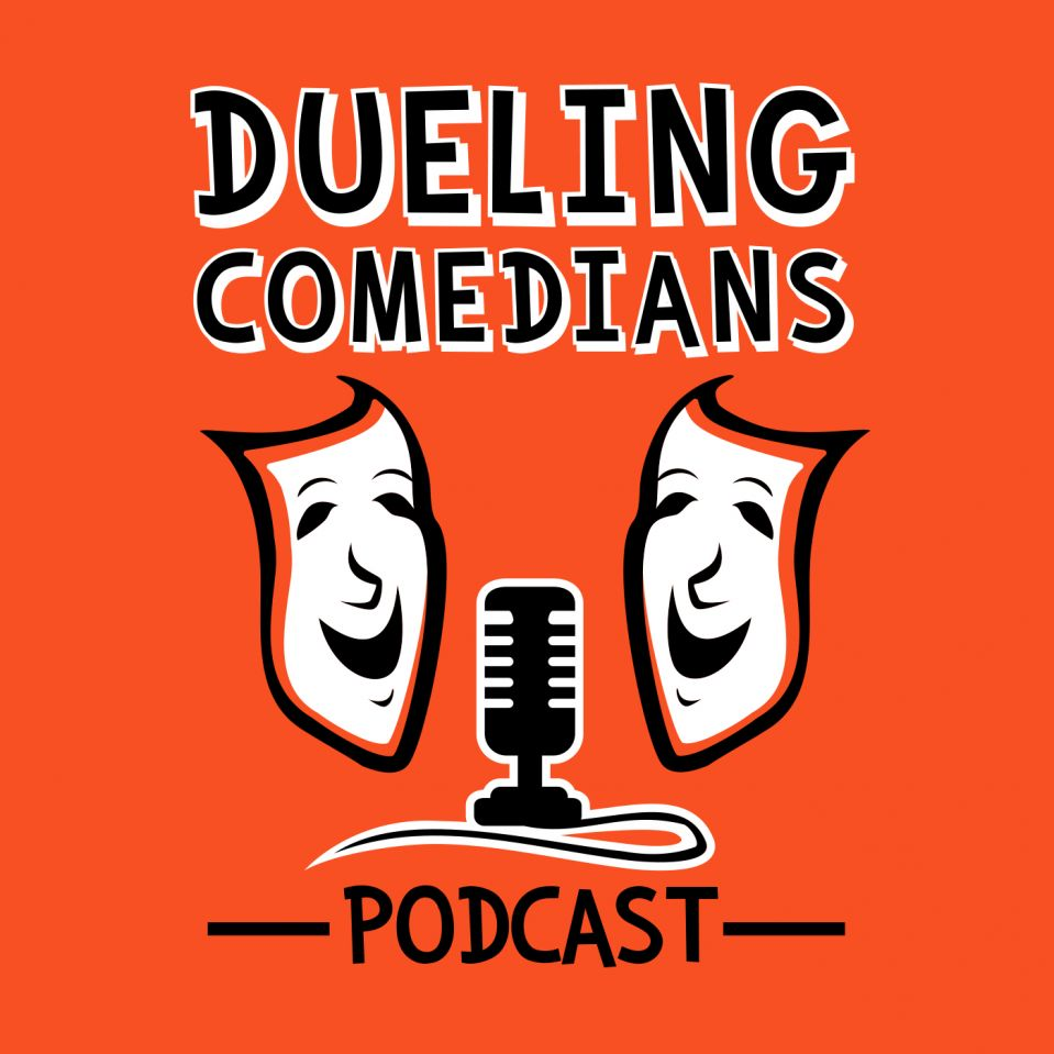 Dueling Comedians Podcast logo with black and whit