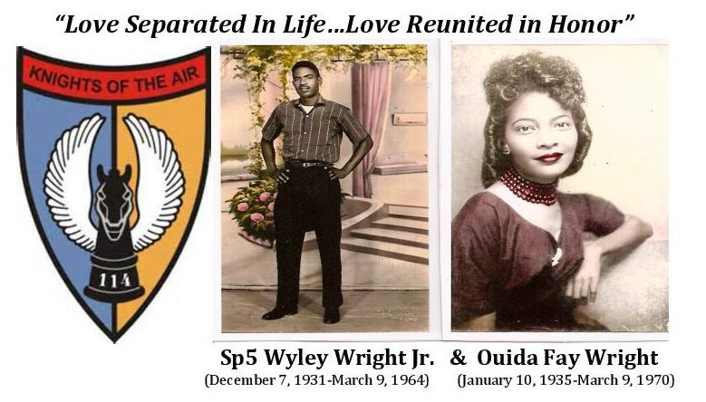 Sp5 Wyley Wright Jr. of 114th Aviation Company and Wife Ouida Fay Wright