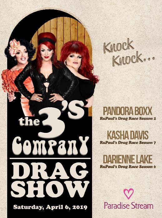 3's Company Drag Show comes to Cove Haven Resorts April 2019!