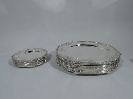 24 tiffany antique sterling plates