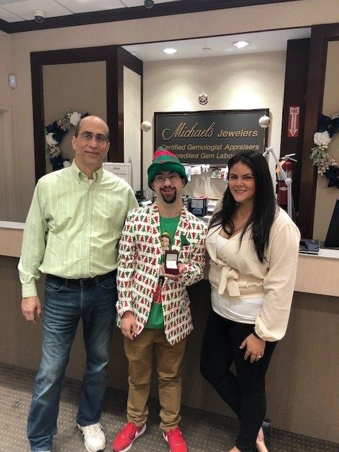 """Michaels Jewelers presented a """"Holiday Engagement Ring"""" to Carlo Agostini"""