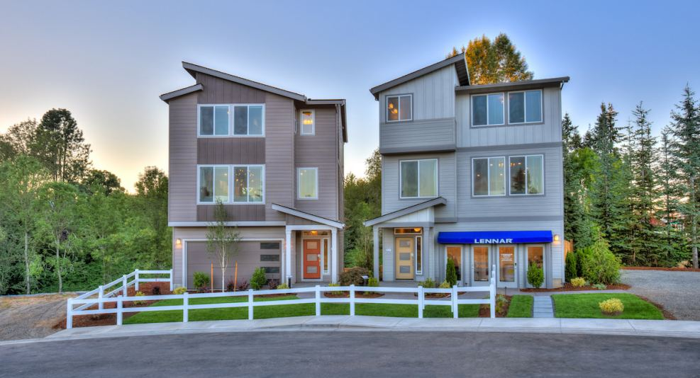 New homes in Happy Valley showcasing modern three-story homes with open layouts