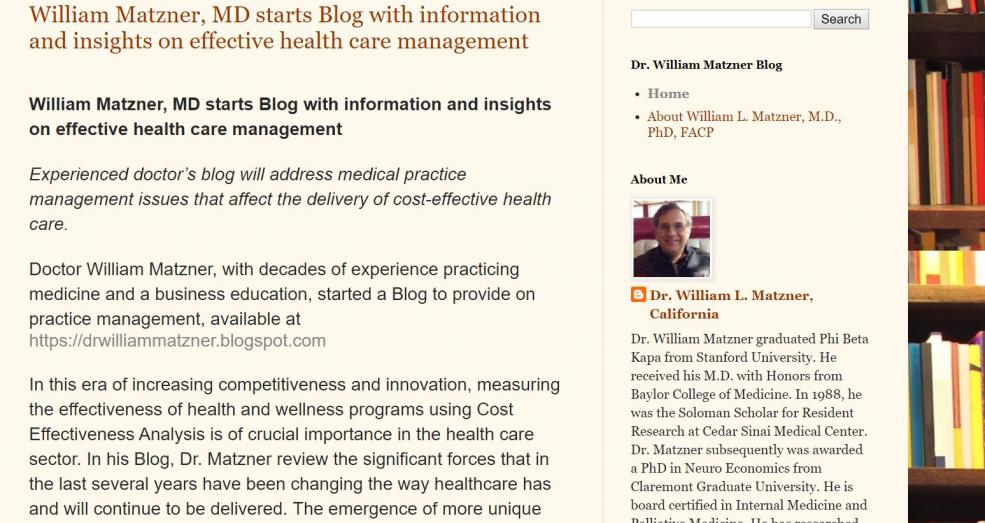 Blog of William L Matzner MD
