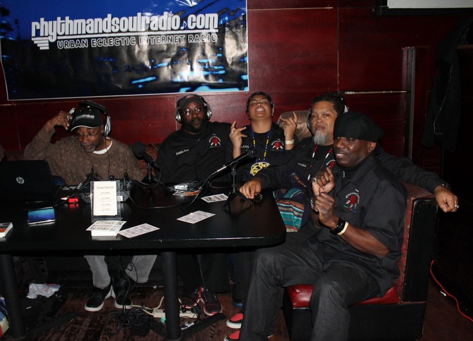 The GroovaLottos doing a radio interview at a Pre-Grammy event in New York City.