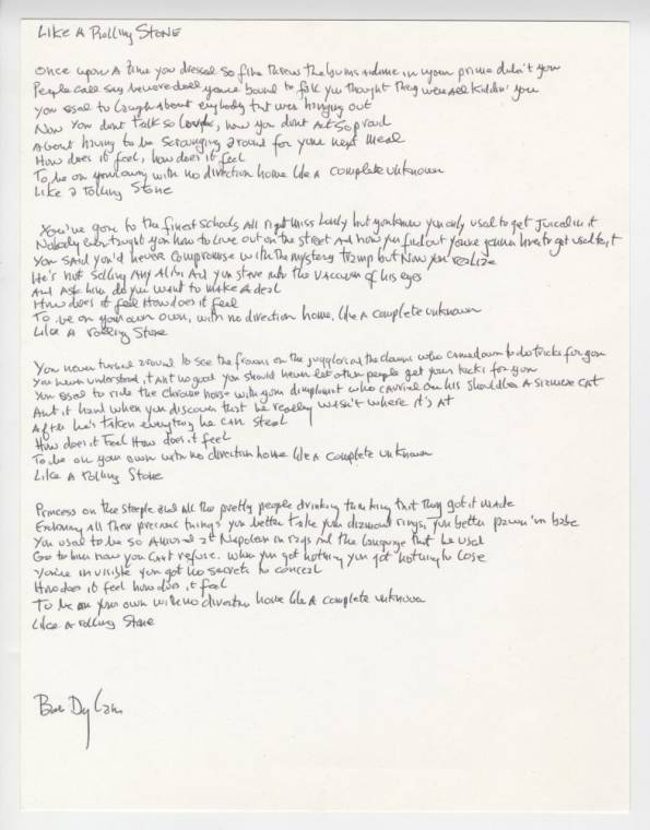 Bob Dylan's signed handwritten lyrics to Like a Rolling Stone (est. $50-$60,000)