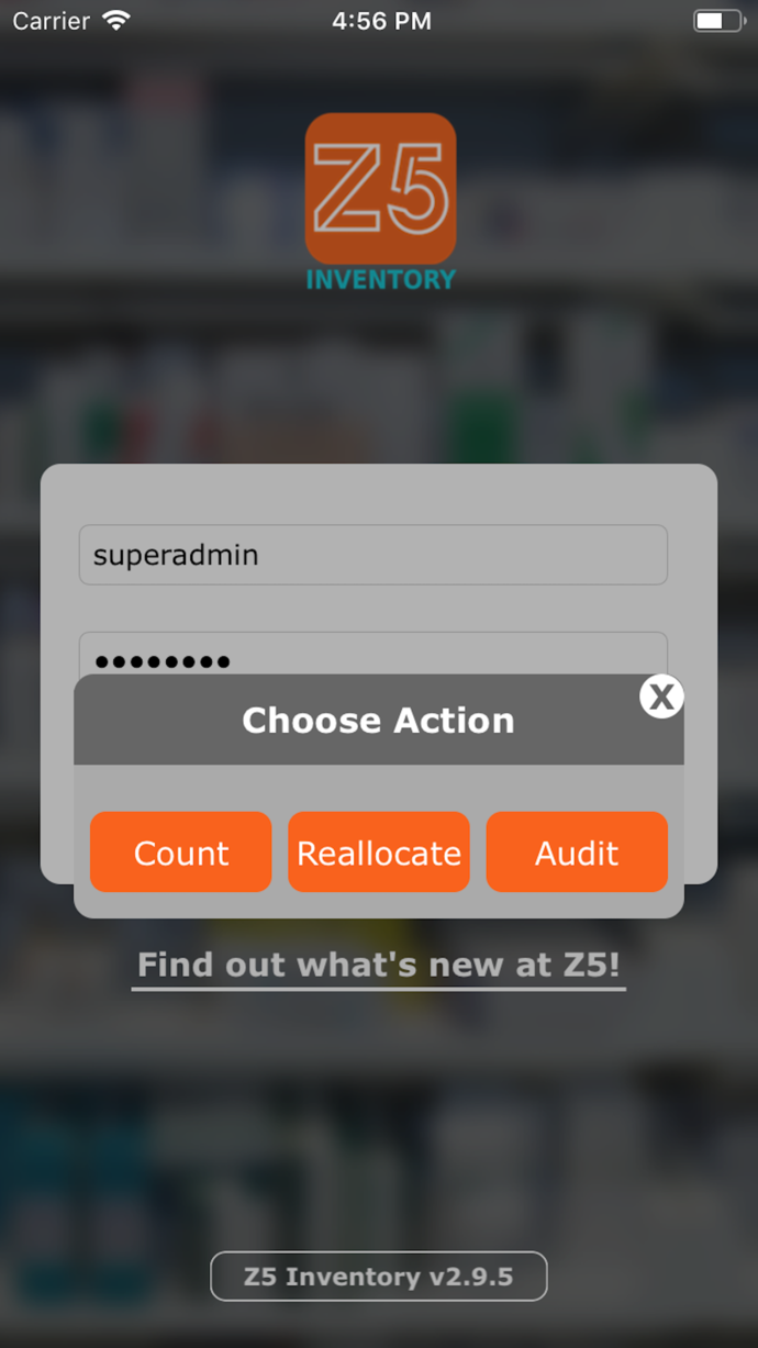 The Login screen of the Z5 App. Users can Count, Reallocate, or Audit in-app.
