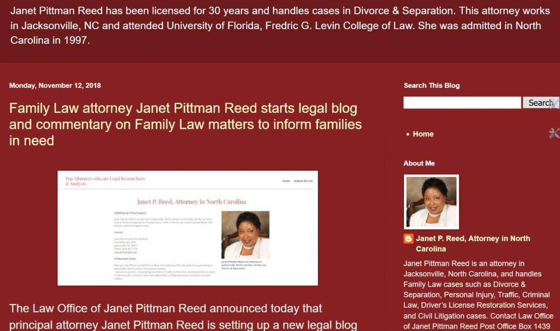 Blog of Janet Pittman Reed, NC Lawyer