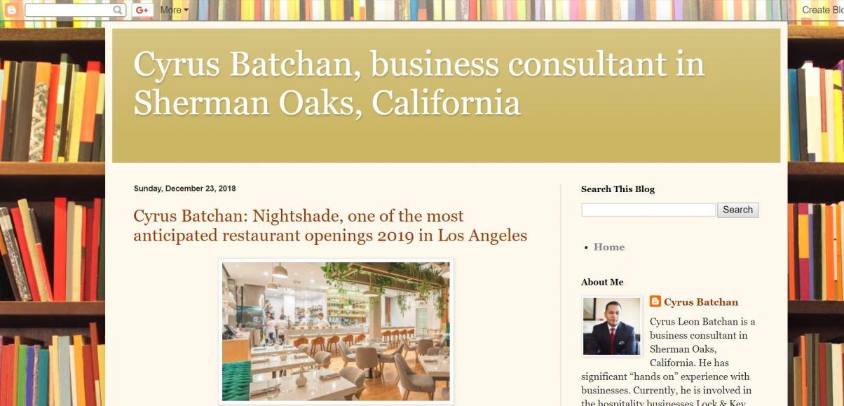 Blog of Cyrus Batchan, Sherman Oaks, California
