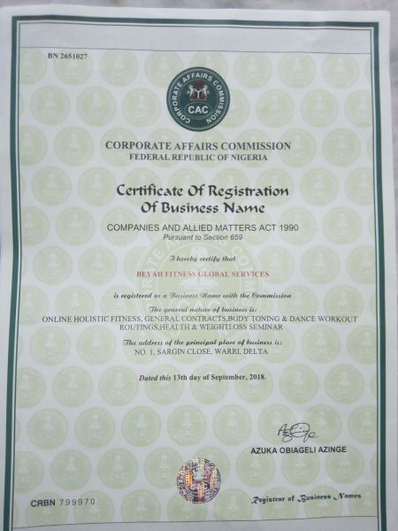 BeYAH_Fitness_CAC_Certificate_Of_Incorporation