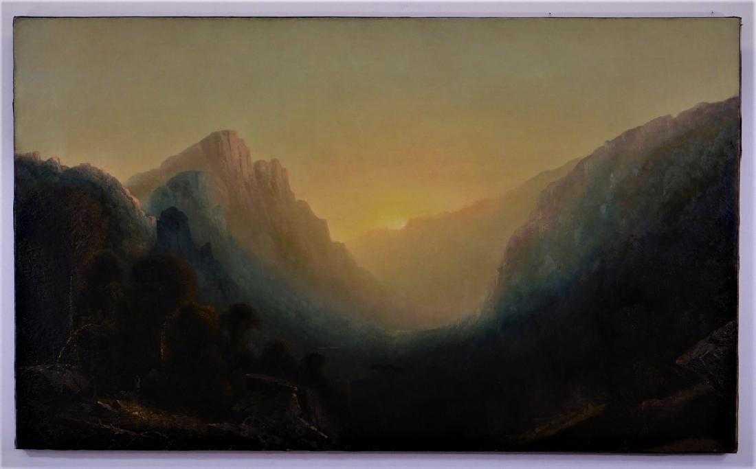 Oil landscape painting attributed to Hudson River School artist Albert Bierstadt