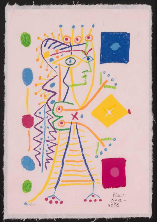 Color lithograph after Pablo Picasso, titled Jacqueline, signed and dated.