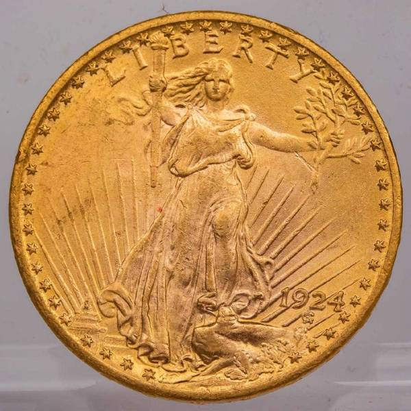 1924 $20 St. Gaudens gold coin in circulated condition (est. $1,500-$1,700).
