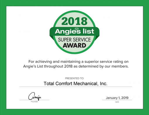 2018 Super Service Award | Total Comfort Mechanical
