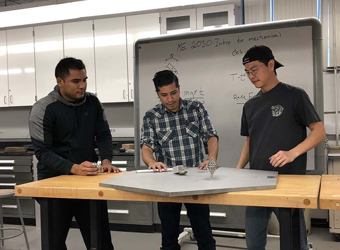 Students create a gyroscope for a rotating design project. (PC: Cal State LA)
