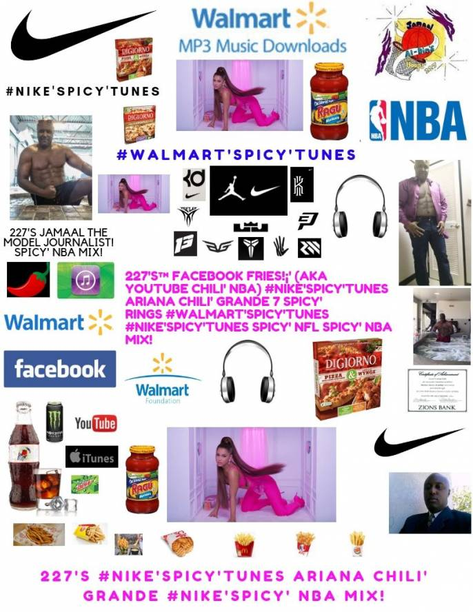 """227's™ #Nike'Spicy'Tunes Ariana Chili' Grande 7 Rings """"I want it Spicy'"""" NBA"""