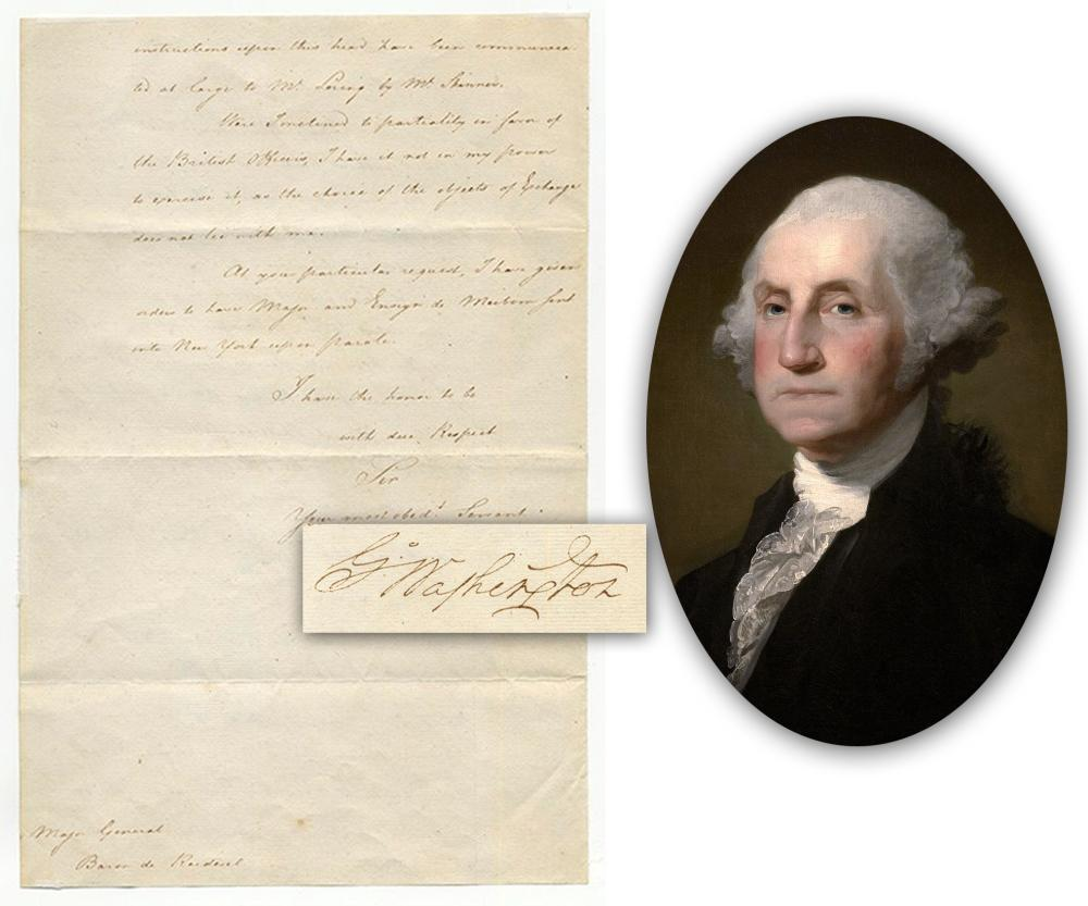 Important 1781 letter signed by George Washington (est. $35,000-$40,000).