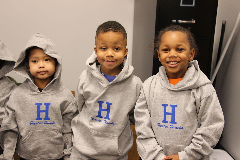 Hunter kids enjoying their new hoodies.