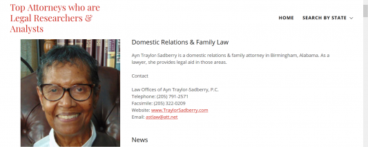 Profile of Ayn Traylor Sadberry on Solomonlawguild