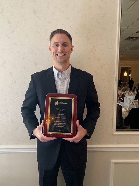 Michael Kokes received the Spike Award from the NJBA.
