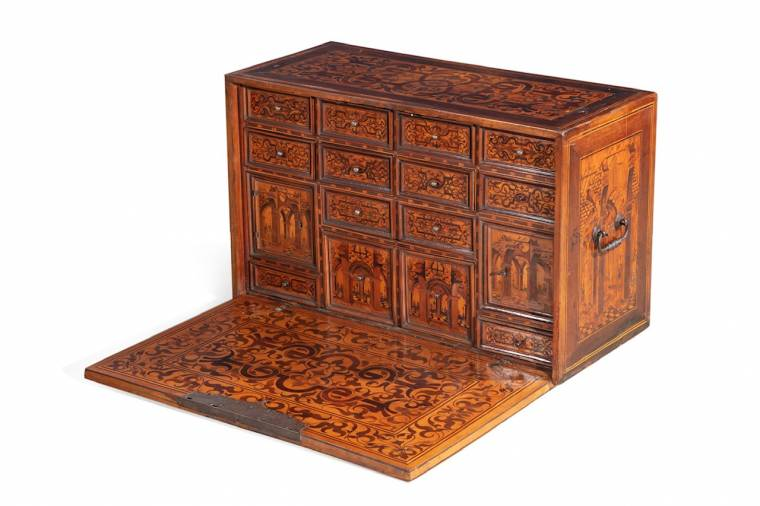 Late 17th century German late Renaissance marquetry inlaid walnut table cabinet.