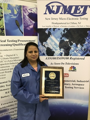 Chetna Mistry Recognized for her 15 year NJMET service anniversary