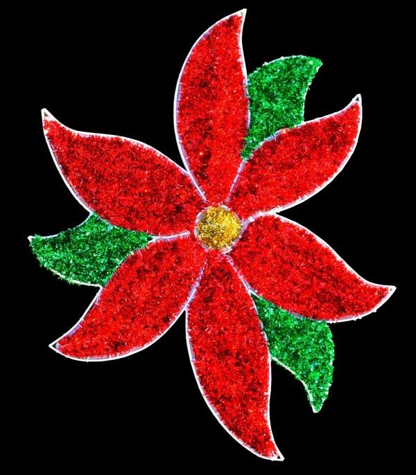 SS Red Classic Poinsettia Pole Mount