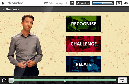 A screen from Engage in Learning's unconscious bias courses.