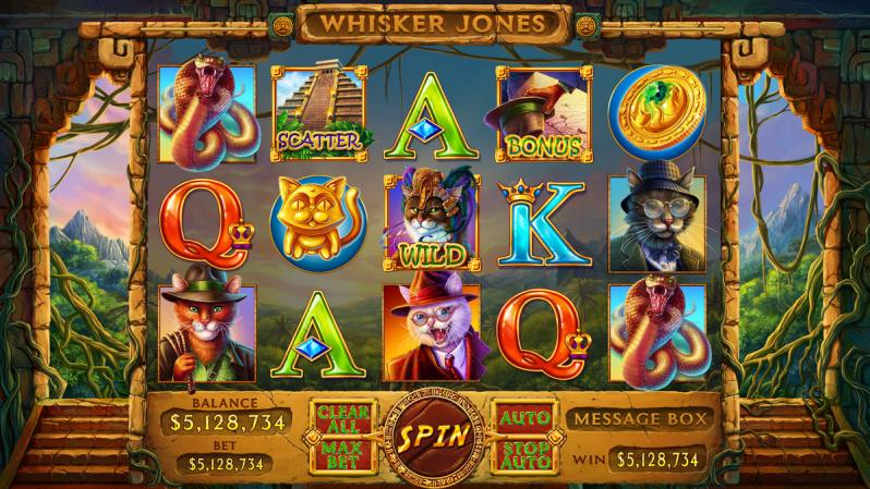 "Graphic design for online casino slot ""Whisker Jones"""