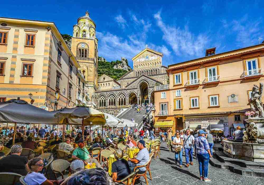 Amalfi, Square, Italy, Crowds, Coast, Church, Cath