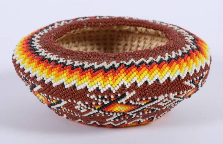 Beautifully crafted Paiute beaded zig-zag basket by Betty Rogers (Schurz, Nev.).