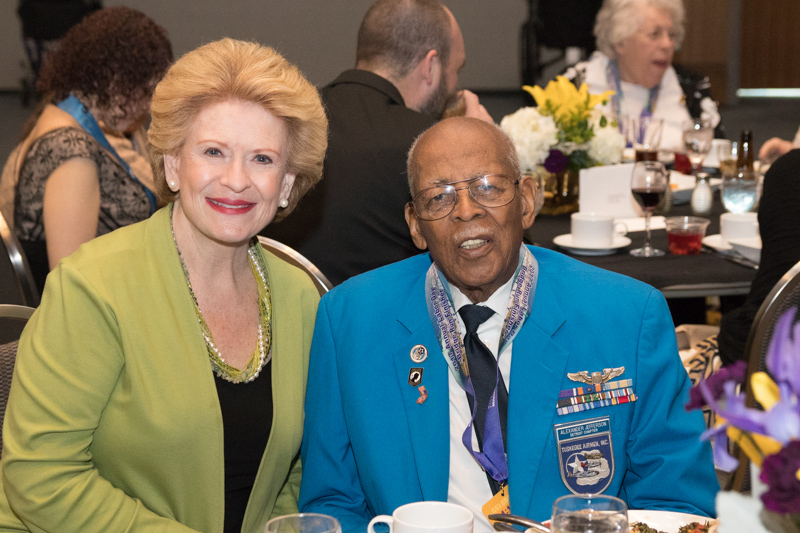 Senator Debbie Stabenow with Tuskegee Airman Lt. Col. Alexander Jefferson