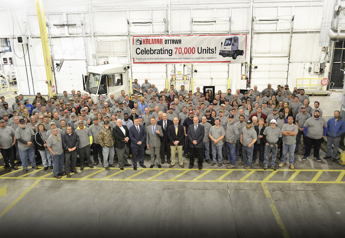 Employees and guests celebrated the 70,000th Kalmar Ottawa Truck Feb. 27.