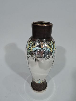 tiffany antique art nouveau mixed metal enamel vas
