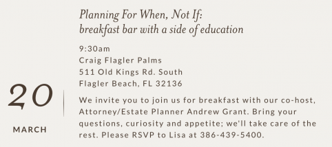RSVP for Your Life & Your Legacy event on March 20th at 9:30 a.m.