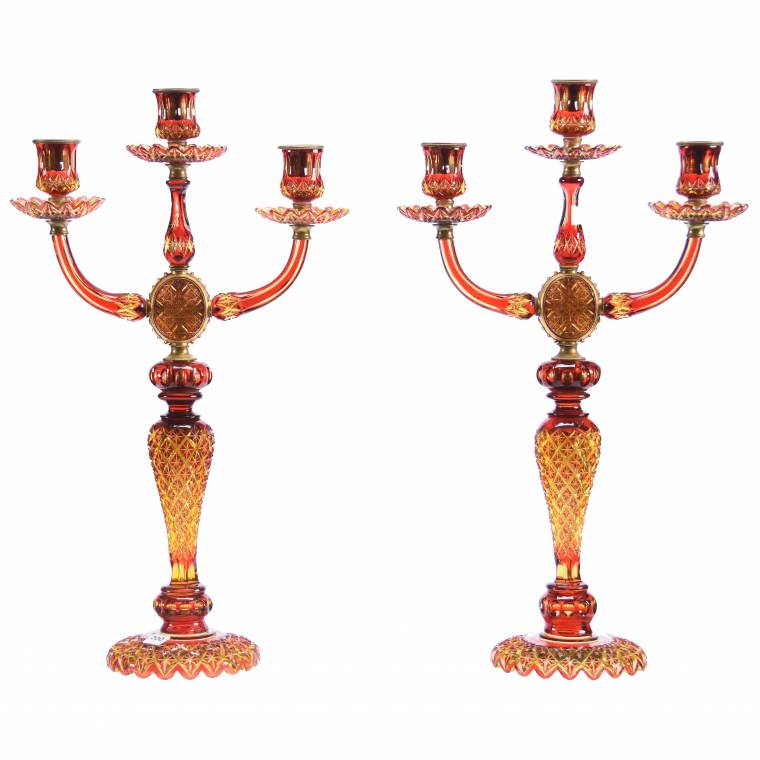 Exceptional pair of Amberina three-arm candelabra in the Crosscut Diamond motif.