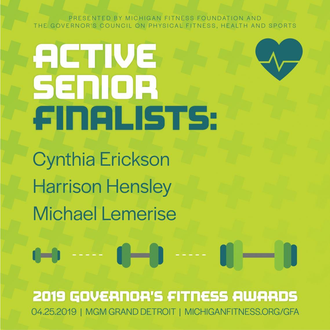 Governor's Fitness Awards - Active Senior Award Finalists